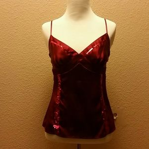 Satin and sequin tank top